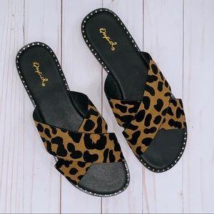 Shoes - Leopard Criss Cross Sandals with Stud Detail